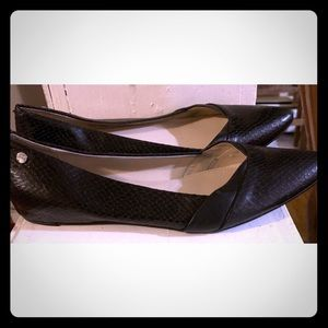 Black Calvin Klein Snakeskin Flats